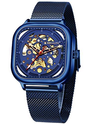 Herren Automatikuhr Männer Mechanische Automatik Wasserdicht Skelett Designer Quadratisch Blau Edelstahl Mesh Armbanduhr Mann Business Kleid Leuchtende Analog Uhren