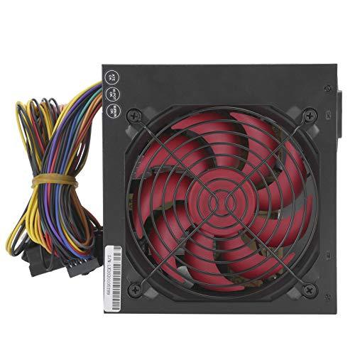 Ventilador rojo con fuente de alimentación ATX-250W para PC, voltaje de conmutación manual de 115 ~ 230V, con interfaz de placa base de 20 + 4 pines, interfaz de 12 V de CPU de 4 pines(negro / rojo)