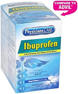 PhysiciansCare by First Aid Only Ibuprofen Pain Reliever Medication (Compare to Advil), 200mg, 50 Packets of Two Tablets
