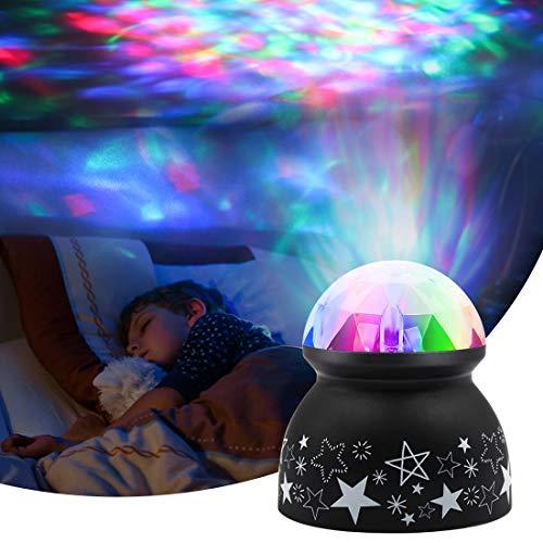Ozeanwellen Projektor Lampe - Euproce Kinder Stimmungslicht für Kinderzimmer Schlafzimmer Wohnzimmer, Bunter Dynamischer LED-Nachtlicht Projektor Lampe für Kinder Baby Geburtstag Weihnachts Geschenk