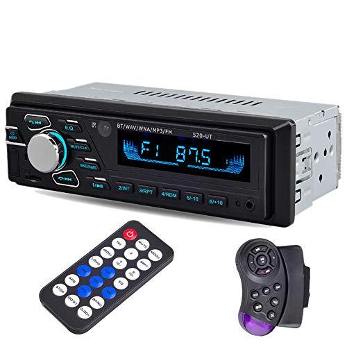 PolarLander Bluetooth Autoradio, Radio Mains Libres Stéréo, Lecteur MP3, Appels Mains Libres, Fonction Radio et Fichier, Connecteur ISO, 12V 1DIN FM USB SD AUX in avec Télécommande