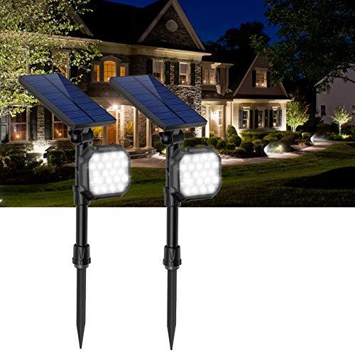 JSOT Solar Spot Light Outdoor 22 LED White Landscape SpotLights IP65 Waterproof Auto On/Off Flood Lamp for Garden Yard Patio Lawn Garage Driveway 2 Pack