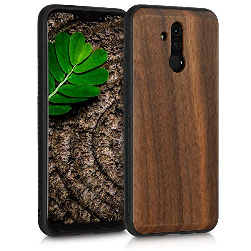 kwmobile Bumper Handyhülle kompatibel mit Huawei Mate 20 Lite - Holz Hülle Handy Case Cover Dunkelbraun