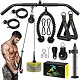 RENRANRING Fitness LAT and Lift Pulley System Gym - Upgraded LAT Pull Down Cable Machine Attachments, Loading Pin, Handle and Tricep Rope, for Biceps Curl, Forearm, Triceps Exercise Gym Equipment