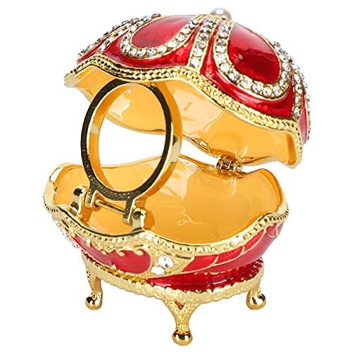 HERCHR Caja de joyería de Estatua de Huevo Rojo Mini Caja de baratija de Huevo reclinada Caja de Almacenamiento de joyería de Anillo de aleación de Zinc Coleccionable
