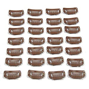20pcs Metal Snap Clips for Hair Extensions DIY Clip in on Hair Extension Wigs 9 Teeth 32mm 1.2g/pc Black Brown Beige Color (Light Brown)