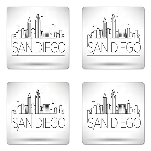 Ambesonne San Diego Coaster Set of 4, San Diego City Silhouette with Typographic Design Abstract Skyline, Square Hardboard Gloss Coasters, Standard Size, Black White