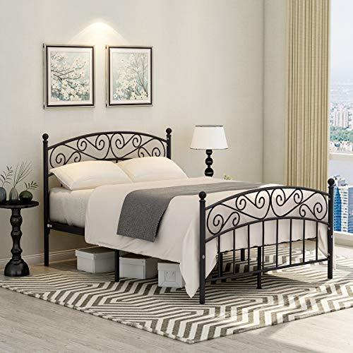 JURMERRY Marco de cama doble con cabecero de metal y pie de pie de cama de estilo moderno, plataforma de cama de acero resistente, somier de caja de repuesto con resorte, color negro