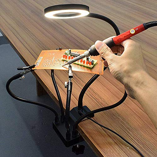 ENJOHOS Dritte Hand, Löthilfe helfende Hand, Dritte Hand mit 3X Lupe Licht, Löten Dritte Hand mit 5 flexible Arme, Lötstation für Schweißer, Schmuckhersteller, Handwerk Liebhaber