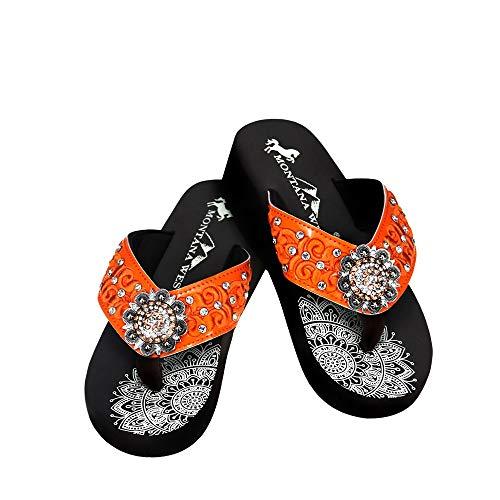 Montana West Womens Bling Women's Flip Flops Casual Summer Sandal Rhinestones Platform Wedge Thong Sandals Orange Size 9 SE95-001 OR9