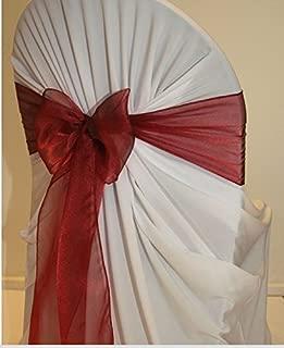 mds 100 PCS Maroon Organza Chair Sashes/Bows sash for Wedding or Events Banquet Decor Chair Bow sash
