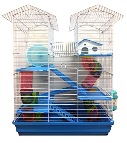 Large 5 Floor Twin Tower Habitat Syrian Hamster Rodent Gerbils Mouse Mice Rat Cage (Blue)