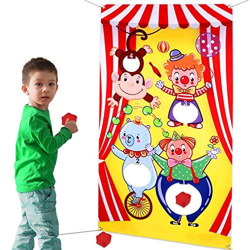 HOWAF Karneval Party Spiele wurfspiel für Kinder, Tier hängend werfen Spiel mit 3 Sitzsäcken Draußen Indoor Wurfspiele für Tier Party Kindergeburtstag Dekoration