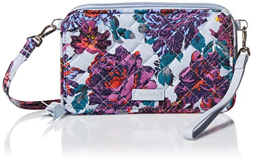 Vera Bradley Cotton All in One Crossbody Purse with RFID Protection, Petite Neon Blooms
