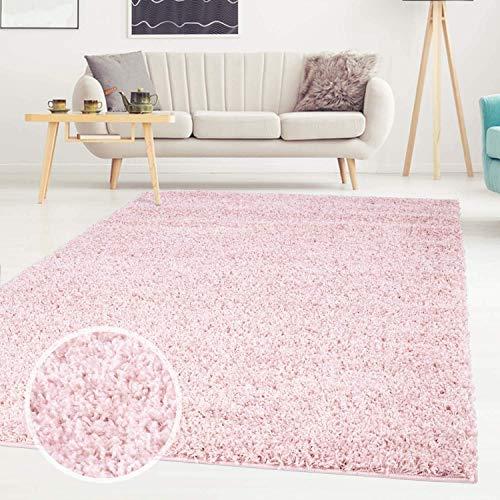 Carpet City ayshaggy Shaggy Teppich Hochflor Langflor Einfarbig Uni Rosa Weich Flauschig Wohnzimmer, Größe: 150 x 150 cm Quadratisch, 150 cm x 150 cm