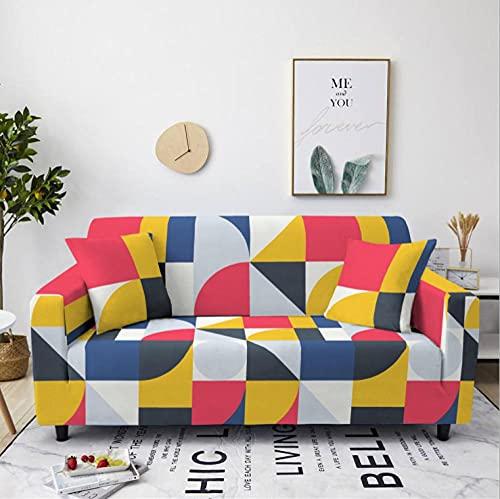 Tela Escocesa Rosa Amarilla Funda de sofá de 3 Plazas Funda Elástica para Sofá Poliéster Suave Sofá Funda sofá Antideslizante Protector Cubierta de Muebles Elástica