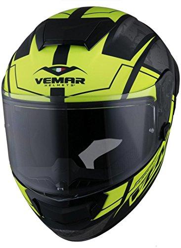 Vemar Casco Moto Hurricane Solid Matt Argento Fluorescent Giallo (M, Giallo)