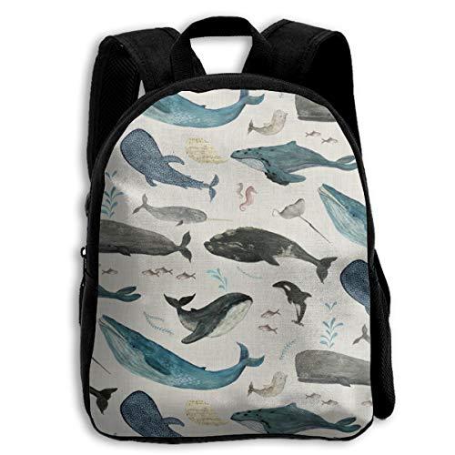 Bonita mochila para niños con canción de ballena azul sobre gris para niños y niñas, bolsa de viaje para niños y niñas