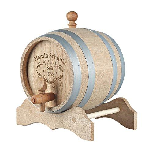 polar-effekt 3l Holzfass mit Gravur, individuelles Eichenfass für Whisky oder Wein, Fass mit Zapfhahn, Stopfen und Holzbock, Motiv: Quality Whisky