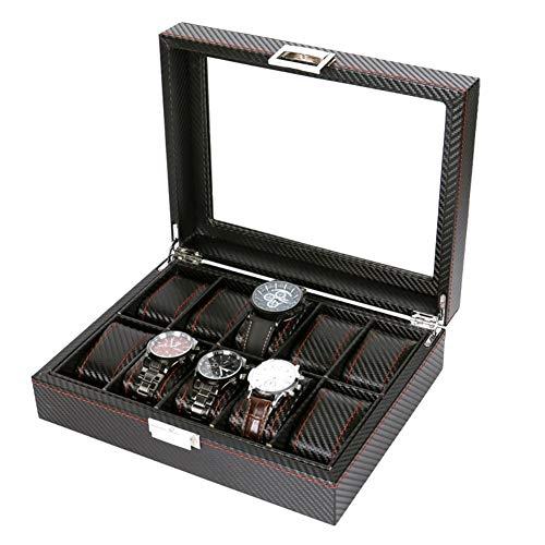 ZXFD Watch Box 10 - Caja de exhibición de Joyas for Organizador de Relojes for Hombre, Negro