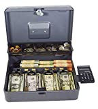 STEELMASTER Tiered Tray Cash Box with Calculator, Gray (2216194GC2)