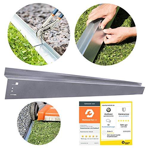 HN Kernstützen Metallwaren Rasenkante mit Radlauf Metall 70x9,5cm Mähkante Beeteinfassung Beetumrandung, Verlegelänge :5er Set (3.25 m)