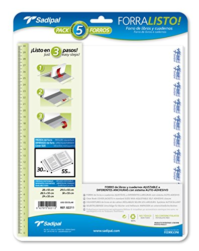 Sadipal 2211 Plastik-Buchhüllen, 30cm, 5 Stück