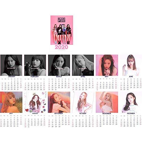 dili-bala Desktop Ornaments Kpop Blackpink Desk Calendar 2020 Desk Calendar (January 2020 - December 2020) Desk Decoration (Blackpink Pink)(H02-11 * 18.5cm)