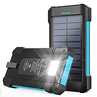 Solar Power Bank 26800mAh, Portable Solar Power Bank with Car Suction Cup Mount,Solar Charger with Dual USB Ports, Ports External Backup Pack with Flashlight for Camping,Solar Panel Charging