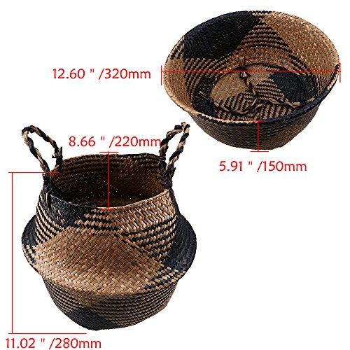 Szetozy Korb aus natürlichem Seegras, von Goodchanceuk, handgefertigter Seegraskorb mit Griff, nutzbar als Bauchkorb, Pflanzgefäß, für Spielzeuge oder als Wäschekorb - 6