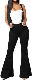 AOGOTO Donne Vita Alta Cerniera Jeans Pulsante Harem Strap Pantaloni Campana-Fondo Salopette Curvy Allentato Tute