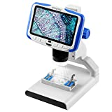 STPCTOU LCD Digital Microscope 5 Inch FHD Screen 200X Magnification Zoom Camera USB 12MP 1920x1080 30fps Video Recorder Rechargeable Lithium Battery for Children Lab Edu Base Light with Sample Slides…