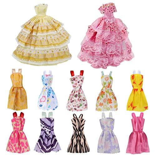 shentaotao 12 Pc Delicate Handgemachte Puppenkleidung Tages Brautkleid Puppenstuben Supplies Zufällige Farbe