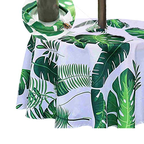 Eternal Beauty 132cm Round Palm Leaf Indoor Outdoor Waterproof Tablecloth...