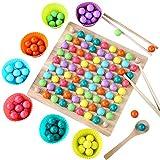 LOVOICE Montessori Spielzeug aus Holz Lernspiele, Brettspiele, Clips, Kinder, Spielzeug, Perlen, Puzzle, Hände, Training, Spiel