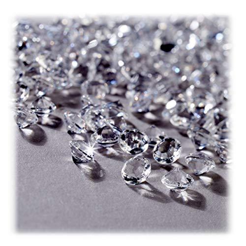 Relaxdays Diamantes Decorativos, Decoración para Bodas, Brillantes, Plástico, 6 x 4 mm, 3000 Uds., Transparente