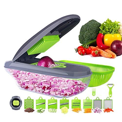 Multifuncional cortador de verduras cortador de frutas rallador triturador de rajador de cesta de drenaje rebanadores, 15 en 1 accesorios de cocina