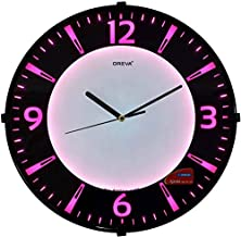 Oreva Back Light Round Plastic Analog Wall Clock (32 cm x 32 cm x 4 cm, Pink LED, AQ 1667)