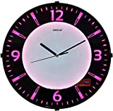 Oreva Back Light Round Plastic Analog Wall Clock (32 cm x 32 cm x 4 cm, Pink LED, AQ 1667)