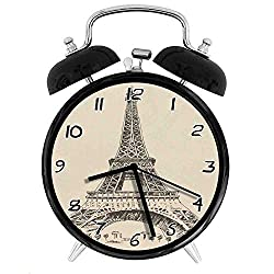 Eiffel Tower Paris France ArchitectureTwin Bell Alarm Clock,Battery Operated Loud Alarm Clock,Silent Desk Clock Nightlight Home Decoration Metal Alarm Clock