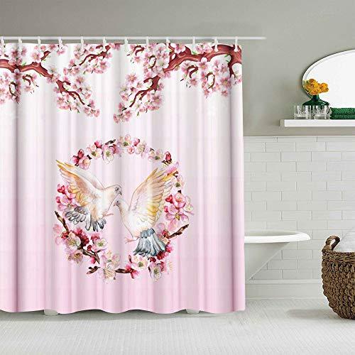 QINCO Duschvorhang,Girlanden & Tauben,personalisierte Deko Badezimmer Vorhang,mit Haken,180 * 180