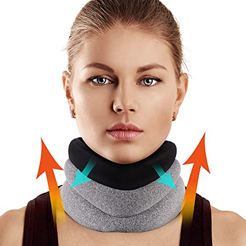 """Neck Brace for Neck Pain and Support, Foam Cervical Collar for Vertebrae Whiplash Wrap Aligns and Stabilizes Spine, Adjustable Neck Support Brace for Spinal Pain and Pressure Relief(4"""" Depth Collar)"""