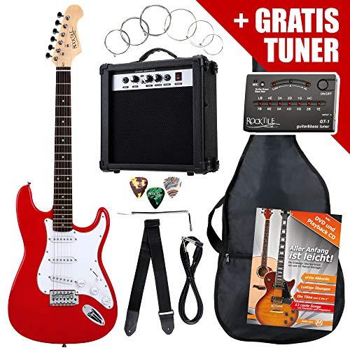 Rocktile ST Pack guitarra eléctr Set rojo incl. ampl, bolsa, afinador, cable, correa, cuerdas