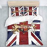 Juego de Funda nórdica Pixdezines Watercolor Union Jack and Insignia, Juego de Funda nórdica de Microfibra Liviana, 3 Piezas
