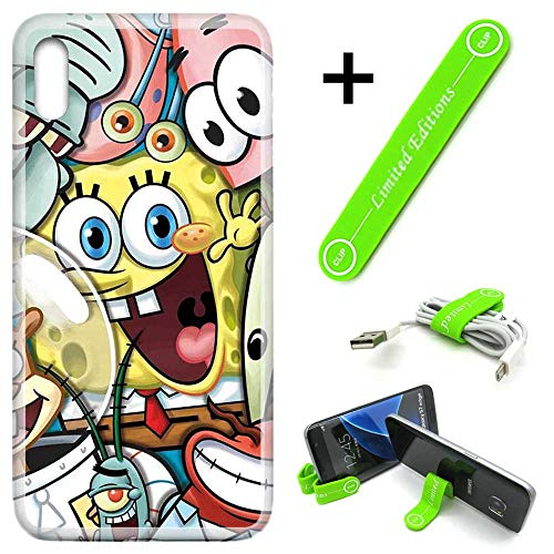 [Ashley Cases] for Galaxy [A10e][A10E] Cover Case Skin with Flexible Phone Stand - Spongebob Friends
