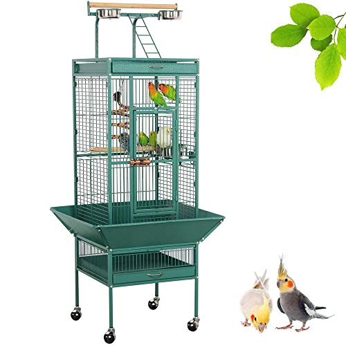 Yaheetech 61-inch Wrought Iron Rolling Play Top Large Parrot Bird Cage for Small Parrot Cockatiel...