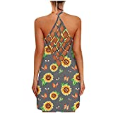 Mini Vestido de la Mujer, Vestidos de Verano para Mujeres Sexy sin Mangas Abiertas Espalda Abierta Camisola Vestido Hueco Suelto Casual Mini Midi-Maxi Vestidos (Color : Gris-11, Size : XXL)