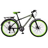 Outdoor Sports Bicycle Adult Mountain Bikes 26 Inch Full Suspension 21 Speed Gears Dual Disc Brakes Mountain Bicycle with Rear Racks for Women Men