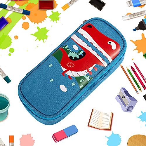 BETOY Estuche, Bolsa de lápices, Pen Bag Pencil Case,Gran Capacidad, Escolar Creativa de Gran Capacidad Cartera Bolsa de Cosméticos Conveniente para niños y niñas,Dinosa azul