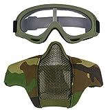 Fansport Airsoft Maske Mesh Maske Tmungsaktiv Niedrig Carbon Halbe Gesichtsmaske Stahl Maske mit Brille